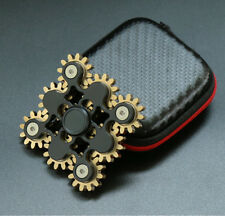 9 Gear Teeth Hand Fidget Spinner Linkage Metal Finger Gyro ADHD Focus Toy #Black