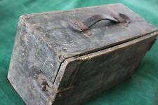 Old Vintage WW2 Army Ammo BOX Military Storage WOOD Leather & Metal Clasps