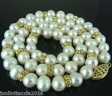 NATURAL! BEAUTIFUL 9-10MM REAL SOUTH SEA WHITE PEARL NECKLACE 18''