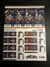 Atlanta Braves 2010 Phantom Playoff Postseason Uncut Sheet Unused Ticket Stub