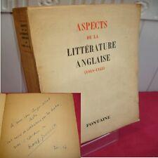 ASPECTS DE LA LITTÉRATURE ANGLAISE (1918-1945) K.Raine & Max-Pol Fouchet Envoi