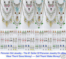 14 NECKLACES EARRINGS PERUVIAN JEWELRY LOT GLASS BEADS