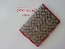 NWT COACH SIGNATURE PASSPORT COVER KHAKI/RED 60354