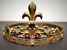 Antique French Gilt Brass Tiara With Red Rhinestones & Cut Glass Jewels 19th C.