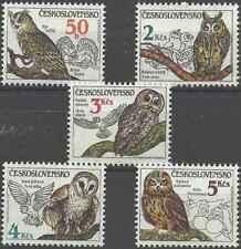 Timbres Oiseaux Hiboux Tchécoslovaquie 2688/92 ** lot 28453