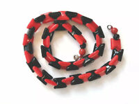 """Vintage Art Deco Shaped Black Red Glass Bead Necklace 15.5"""" Long GIFT BOXED"""