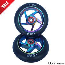 110mm LUFA Neo-Chrome Oil Slick Pro Scooter Wheels SET 2pc + Bearings Metal Core