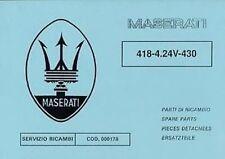 Maserati 418 a 4.24V 430 coche papel Libro Catálogo Manual De Partes