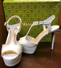 NIB GIANNI BINI Platform High Heels Stiletto Shoe Wedge Pumps White strappy 7.5
