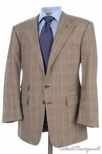 RALPH LAUREN PURPLE LABEL Brown Plaid CASHMERE WOOL Jacket Pants SUIT - 40 R