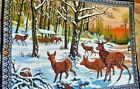 "Vintage Velvet Wall Hanging Tapestry Deer Outdoors Hunting Approx. 57""x 38"" 1970"