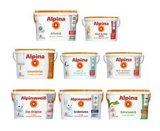 Alpina 5 L. und 10 L. weiße Wandfarben für Innen, verschiedene Eigenschaften