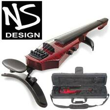 NS Design WAV-5 Electric Transparent Red 5-String 4/4 Violin with Hard Case