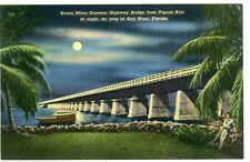 """Key West Florida Fl """"Overseas Hwy From Pigeon Key At Nite"""" Unused Linen Postcard"""
