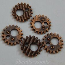 119pcs Red Copper Alloy Big Small Holes Gear Pendant Charms Jewelry 11mm 50029