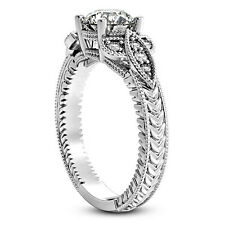 3/4 CT ROUND DIAMOND ENGAGEMENT RING SI1 D 14k WHITE GOLD ENHANCED