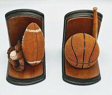 Sport Theme book Ends. Wood & Ceramic.