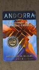 2 Euro 2018 Andorra 25 Jahre Verfassung in Coincard st, Gedenkmünze