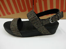 FitFlop Womens Lottie Glitter Stripe Back Strap Sandal All Black 10