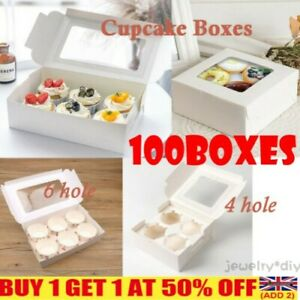 UK Made 100X Windowed Window Cupcake Boxes for  4, 6 Hole Cup Cakes Muffin Box