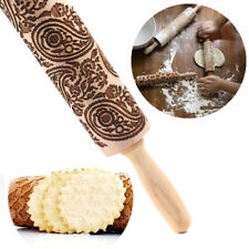Wooden Paisley Floral Christmas Rolling Pin Engraved Rolling Pin Embossed /BW