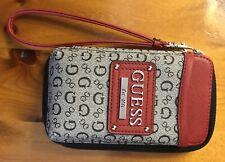 GUESS LOGO PHONE HANDBAG WALLET Burgundy & Gray Wrist Bag GENUINE