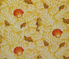 MILL CREEK KITTERY SUNFLOWER YELLOW SEAHORSE SEASHELL OUTDOOR FABRIC BY THE YARD