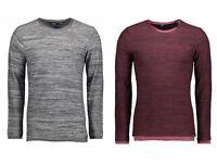 Tom Tailor Herren shirt Longsleeve Bordeaux-Grau UVP 29,99