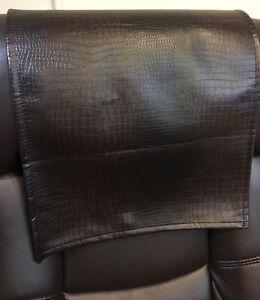Recliner Head Rest Cover Vinyl  alligator Brown 14x30 Sofa Love seat Chaise