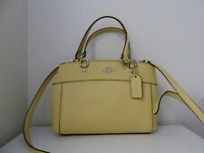 New Coach Crossgrain Mini Brooke Handbag Satchel Vanilla Yellow Silver 25395