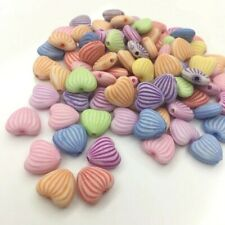 100 pcs acrylic heart pastel colours beads 12mm kawaii rainbow striped