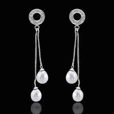 18K White Gold Pearl Stone Zirconia Fish Hook Drop Bali Threader Earrings L140