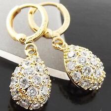 FS993 GENUINE 18K YELLOW G/F GOLD SOLID DIAMOND SIMULATED HUGGIE DROP EARRINGS