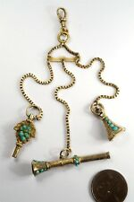 ANTIQUE 9K GOLD MINIATURE CHATELAINE w/ WATCH KEY SEAL & PENCIL FOB CHARMS