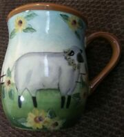 Susan Winget Mug with Country Sheep & Daisies 16 oz Coffee Cup Cracker Barrel