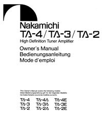 Nakamichi TA-4 TA-3 TA-2 Amplifier Owners Instruction Manual