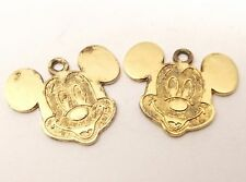 Vtg Sterling Silver Disney Mickey Mouse Head Charm Pendant Disneyland Face
