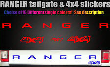 Ranger 4x4 CUSTOM Rear Tailgate decal sticker 4 piece set 16 colours 2012-2017