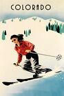 Colorado Lady Ski Skiing Race Winter Sport Vintage Poster Repro FREE S/H