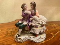 Vintage German Dresden N Crown Mark Porcelain Figure Figurine