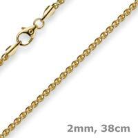 2mm Zopfkette Kette Collier aus 333 Gold Gelbgold, Goldkette, 38cm, Unisex
