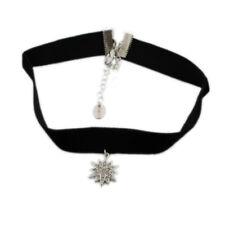 Silver tone frozen snowflake pendant choker necklace, Christmas Xmas gear