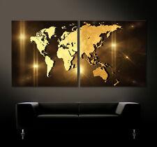 WELTKARTE 3D GOLD Leinwand Bild Bilder Modern Abstrakt Schwarz Braun No Poster