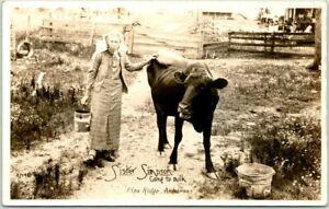"""PINE RIDGE, Arkansas RPPC Real Photo Postcard """"Sister Simpson Going to Milk"""" Cow"""