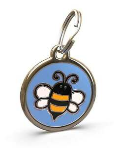 Pet Dog Cat ID Engraved Name Tag Personalised Stainless Steel Blue Bumble Bee