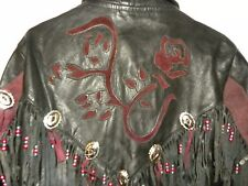 Womens Leather With Suede Red Rose Insets- Jacket & Chaps- Size Small