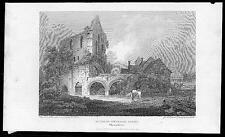 1805 Original Antique Print - RUINS OF WEDLOCK ABBEY SHROPSHIRE (136)