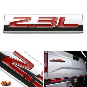 """2.3L"" Polished Metal 3D Decal Red Emblem Exterior Sticker For Mazda/Ford/Honda"
