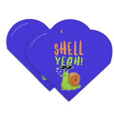 Shell Yeah Hell Yes Snail Funny Humor Heart Faux Leather Bookmark - Set of 2