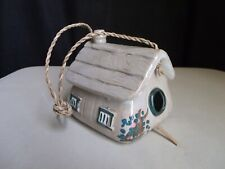 Decorative Hanging Birdhouse Bird House Cottage Ceramic Pottery Hand Painted
